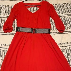 3/4 sleeve red dress with belt, LIKE NEW!!